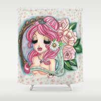 shabby chic Shower Curtains featuring Shabby Chic Girl by Sollamy