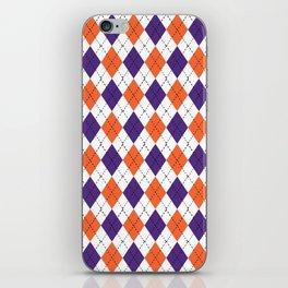 Argyle orange and purple pattern clemson football college university alumni varsity team fan iPhone Skin