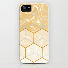 Geometric Effect Caramel Marble Design iPhone Case