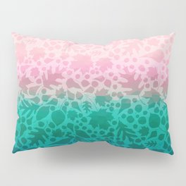 Pastel Pink and Green Fallen Leaves Leaf Pattern 1 Pillow Sham