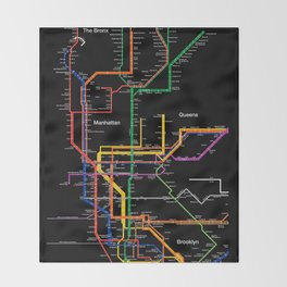 New York City subway map Throw Blanket