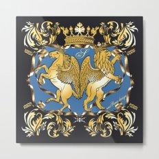 Horse & Leo Royal Blue Metal Print