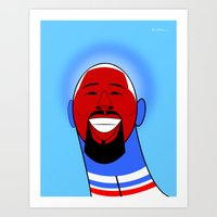 dj Art Prints featuring DJ by Guy  Killum Illustration