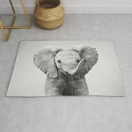 Baby Elephant - Black & White Rug