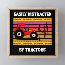 Easy Distracted By Tractors Truck Farm Framed Mini Art Print