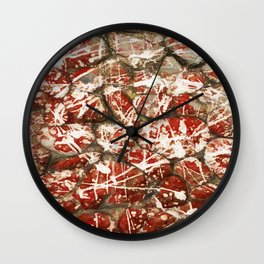 Red Paint Abstract Drip Stones AKA Pollock Wall Clock