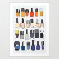 nail polish Art Prints featuring my nail polish collection by uzualsunday