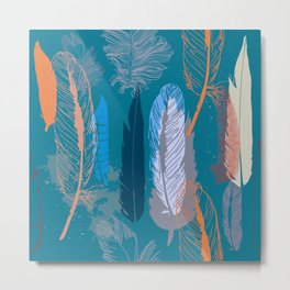 Feather Pattern in Blue Metal Print
