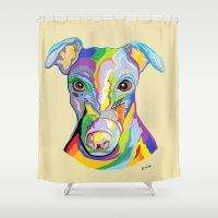 greyhound Shower Curtains featuring Greyhound by EloiseArt