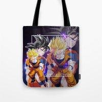 goku Tote Bags featuring Goku & Gohan by Neo Crystal Tokyo