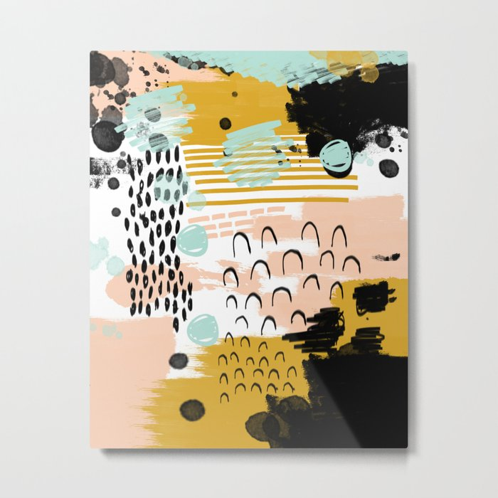 Ames - Abstract painting in free style with modern colors navy gold blush white mint Metal Print
