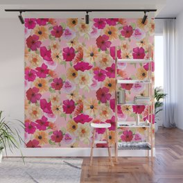 Pink and Orange Florals no 1 Wall Mural
