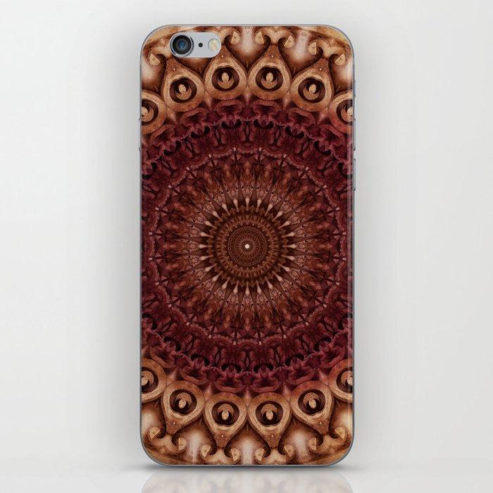 Mandala in brown and red tones iPhone Skin