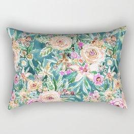 Teal MAUI MINDSET Colorful Tropical Floral Rectangular Pillow