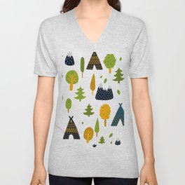 Cute camping explorer scandinavian style hand drawn illustration pattern Unisex V-Neck