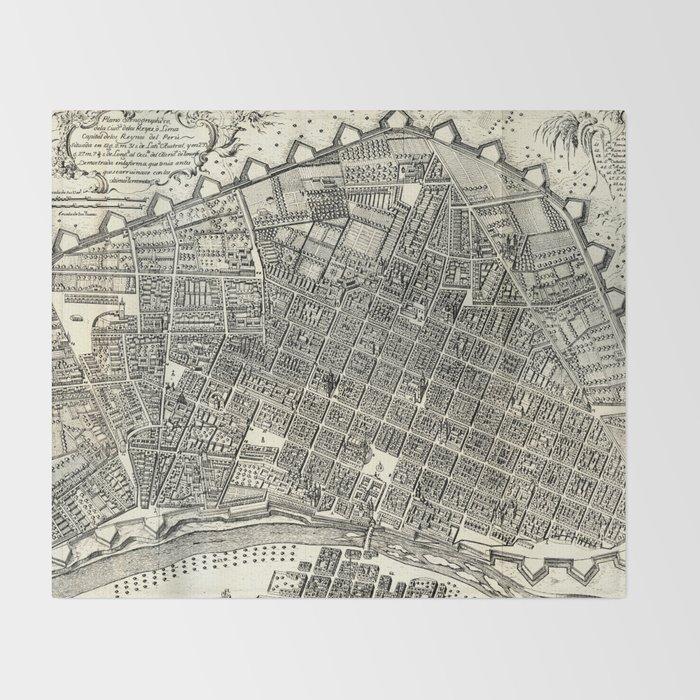 Ciudad de los Reyes del Peru en 1744 Throw Blanket