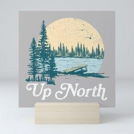 Vintage Retro Up North Lake Mini Art Print