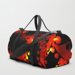 Red lace gold on a black background. Duffle Bag