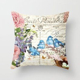 Vintage Postcard with Bluebirds Throw Pillow