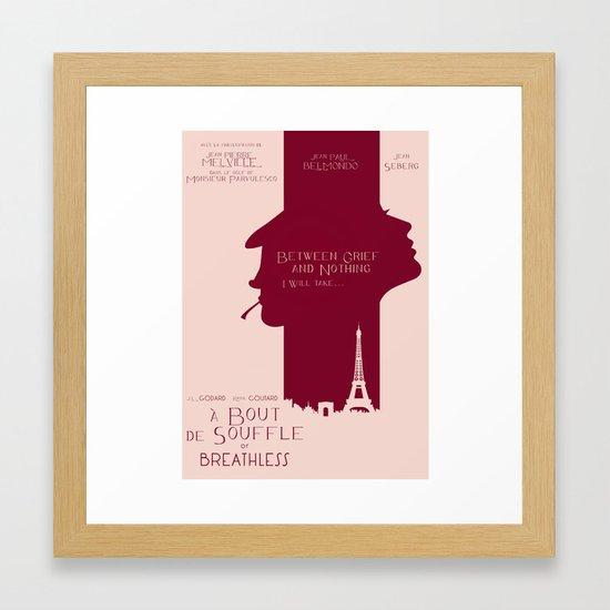 Breathless (À bout de souffle) minimal movie poster, Jean-Luc Godard,  classic french film, new wave Framed Art Print