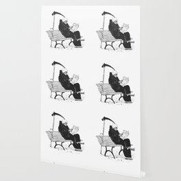 Grim reaper reading newspaper - cartoon skeleton - dark skull Wallpaper