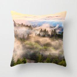 Coastal Fog Over Mount Tamalpais Throw Pillow