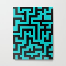 Black and Cyan Labyrinth Metal Print