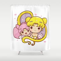 sailormoon Shower Curtains featuring Sailor Moon Princesses by Azul Piñeiro