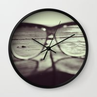 sunglasses Wall Clocks featuring sunglasses by Nikole Lynn Photography