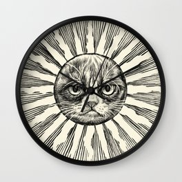 Grumpy Face in Sun Wall Clock