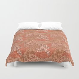Brush Strokes Abstract Pattern, Brick with Coral and Tan Duvet Cover