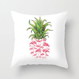 cute and lovely pink flamingo pineapple love gift Throw Pillow
