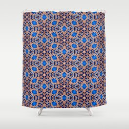 Blue And Gold Beadwork Inspired Print Shower Curtain