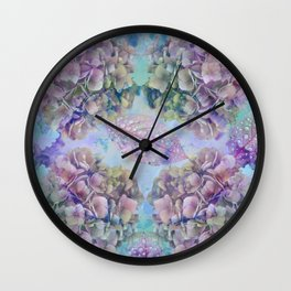 Watercolor hydrangeas and leaves Wall Clock