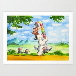 Waldo and friends enjoying their ice-cream Art Print