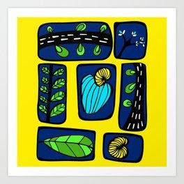 Blue & Yellow Cashew Apple Art Print