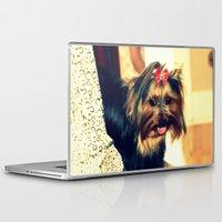 yorkie Laptop & iPad Skins featuring D's Yorkie puppy by Irène Sneddon