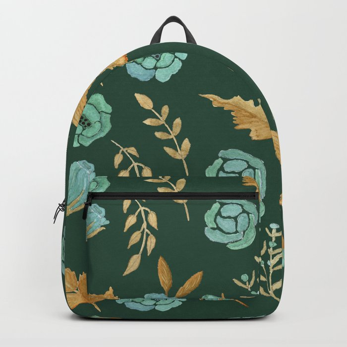 Watercolor floral turqiouse roses print Backpack