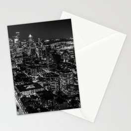 Seattle from the Space Needle in Black and White Stationery Cards