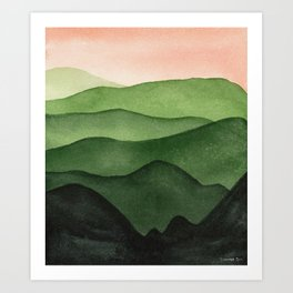 Watercolor layers of mountains Art Print