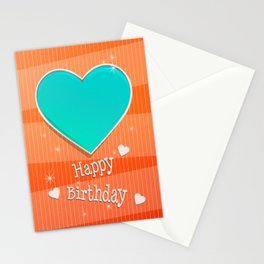 Birthstones December Blue Turquoise Heart Shaped Birthday Stationery Cards