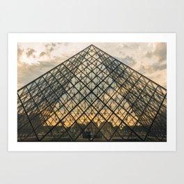 Louvre Pyramid under the sunset Art Print