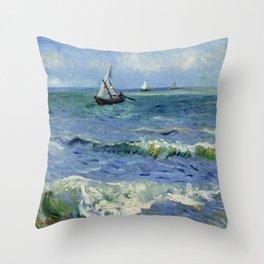"""Vincent Van Gogh """"The Sea at Les Saintes-Maries-de-la-Mer"""" Throw Pillow"""