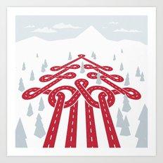 North Pole Position (Winter Raceway) Art Print