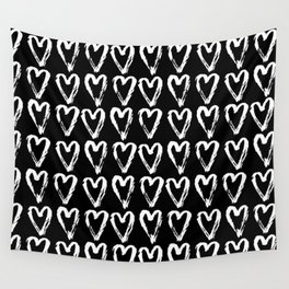 Black & White-Love Heart Pattern- Mix & Match with Simplicty of life Wall Tapestry