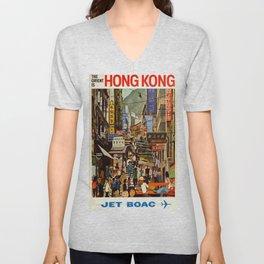 Vintage poster - Hong Kong Unisex V-Neck