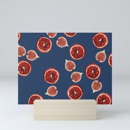 Pomegranate - Figs Pattern blue Mini Art Print