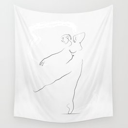 'Reach', Dancer Line Drawing Wall Tapestry