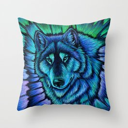 Blue Wolf Aurora Colorful Fantasy Throw Pillow