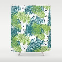 Ferns and Dots Shower Curtain